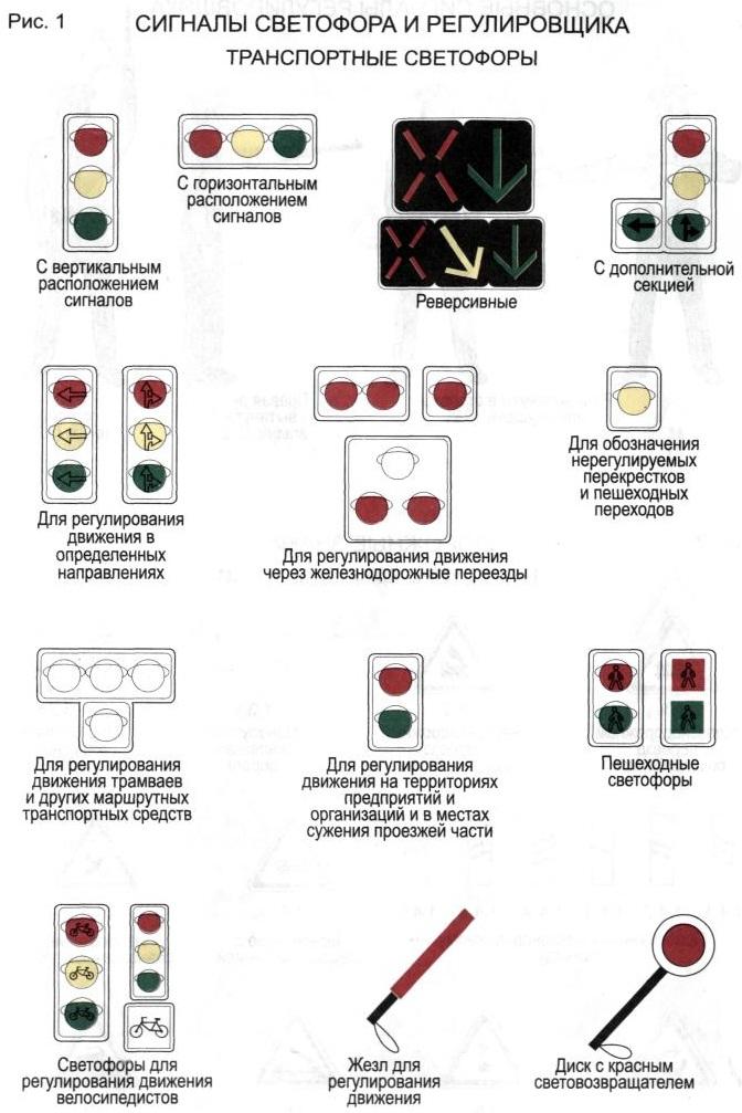 Пдд сигналы светофора в картинках