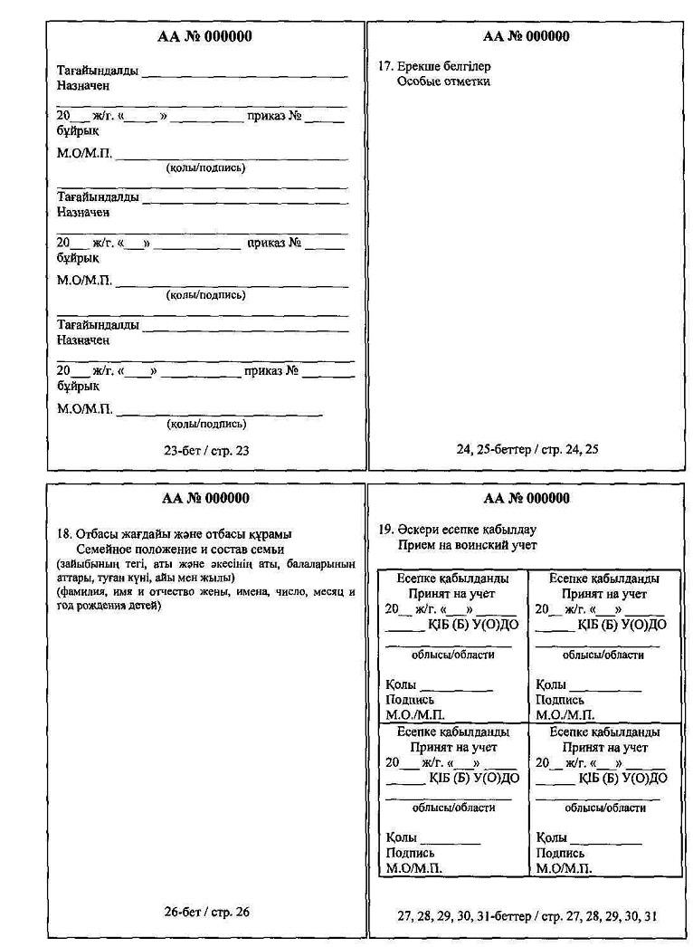 бланк заполнения сведений подлежащих воинскому учету