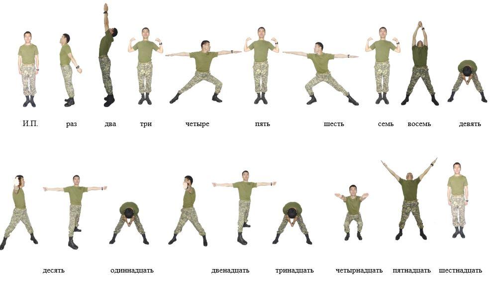 Армейская зарядка комплекс упражнений фото